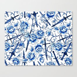 Floral Swords Blue China Canvas Print