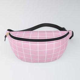Pink white minimalist grid pattern Fanny Pack