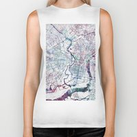 philadelphia Biker Tanks featuring Philadelphia map by MapMapMaps.Watercolors