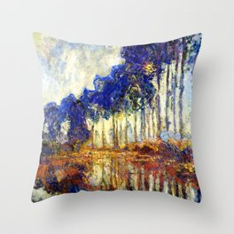 Monet : Poplars on the Banks of the River Epte, 1891 Throw Pillow