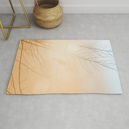 Subtle Bird and Tree Silhouette Glowing Orange Blue Sunlight Rug