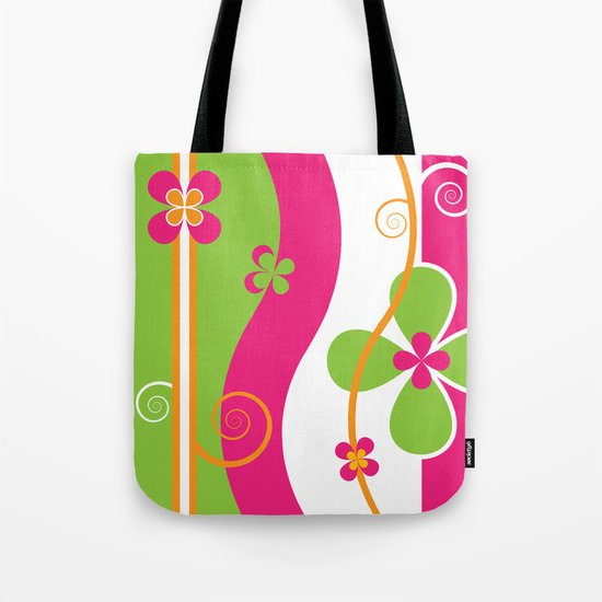 Colorful Spring Floral Graphic Art II Tote Bag