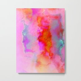 Abstract Cloud Formation in Shades of Red, Gold and Pink Metal Print