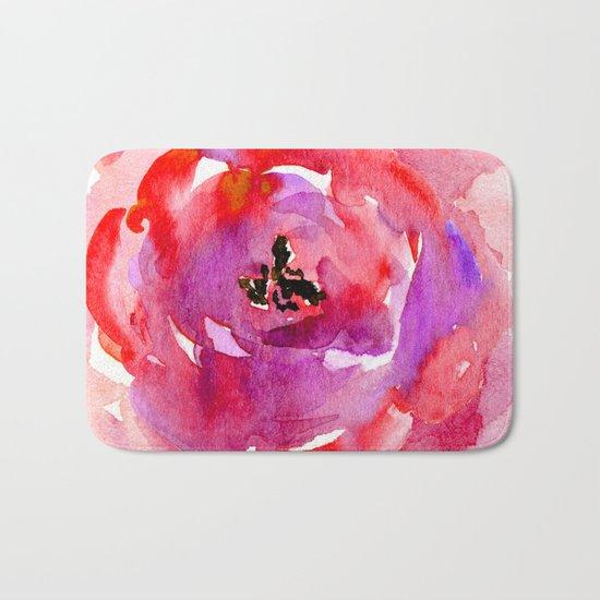 red pink flower Bath Mat