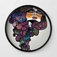pisces Wall Clocks featuring Pisces by annabours