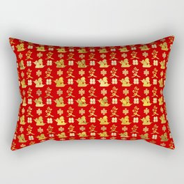 Mandarin Ducks, love and eternal knot pattern Rectangular Pillow