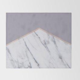 Smokey lilac - rose gold geometric marble Throw Blanket
