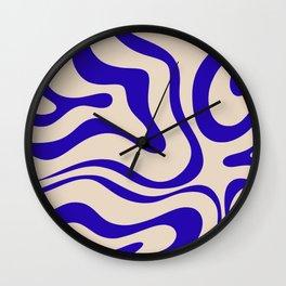 Modern Liquid Swirl Abstract Pattern Square in Indigo Blue Wall Clock