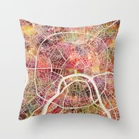 moscow Throw Pillows featuring Moscow Map by MapMapMaps.Watercolors