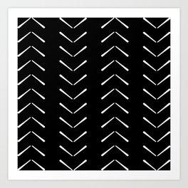 Black And White Big Arrows Mud cloth Art Print