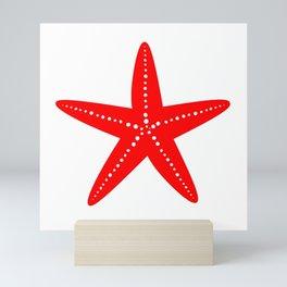 Starfish (Red & White) Mini Art Print