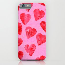Lipstick Red Hearts Pattern on Lollipop Pink iPhone Case