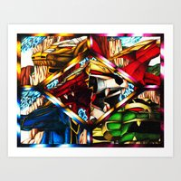 power rangers Art Prints featuring Power Rangers Thunderzords by sn33ky