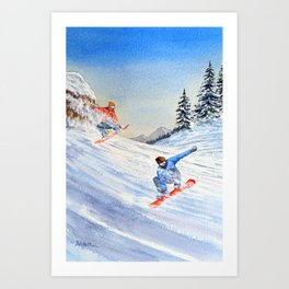 Snowboarders Shreddin' The Gnar Art Print