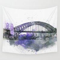 sydney Wall Tapestries featuring Sydney Harbor Bridge II by LebensART