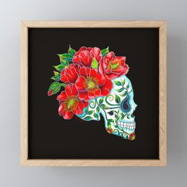 Sugar Skull with Red Poppies Framed Mini Art Print