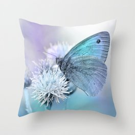 Butterfly blue 71 Throw Pillow