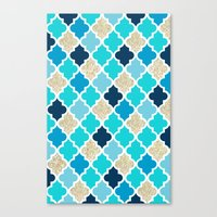 morrocan Canvas Prints featuring Morrocan Tile Blue with Gold Glitter by Shelby McCann