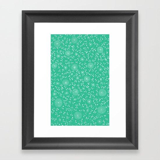 Dahlia Pattern, teal Framed Art Print
