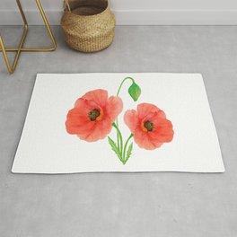 Springtime Red Orange Poppies Watercolors Rug