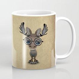 Cute Curious Baby Moose Nerd Wearing Glasses Coffee Mug