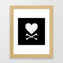 Heart and Crossbones - White Framed Art Print