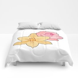 Pink Rose & Day Lily Comforters