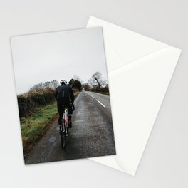 cycling on winter british lanes Stationery Cards