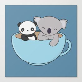Kawaii Cute Koala and Panda Canvas Print