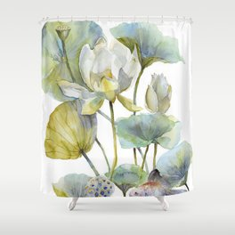 Lotus Plant and Fish Zen Design Watercolor Muted Pallet Botanical Art Shower Curtain