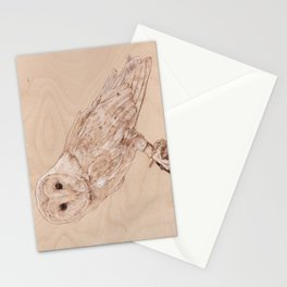 Owl Portrait - Drawing by Burning on Wood - Pyrography Art Stationery Cards