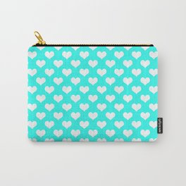 Aqua & White Hearts Carry-All Pouch