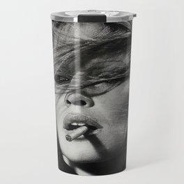 Brigitte Bardot Smoking a Cigarette, Black and White Photograph Travel Mug