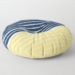 Gold and Navy Blue brush Strokes Floor Pillow