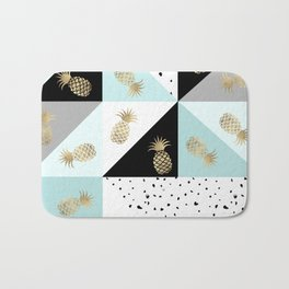 Pastel color block watercolor dots faux gold pineapple Bath Mat