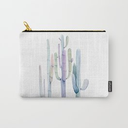 Minimalist Cactus Drawing Watercolor Painting Turquoise Cacti Carry-All Pouch