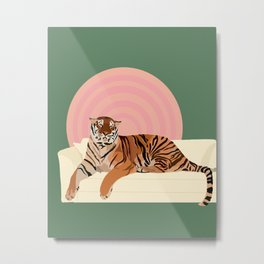 Tiger on a Couch Metal Print