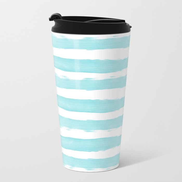 Aqua Blue- White- Stripe - Stripes - Marine - Maritime - Navy - Sea - Beach - Summer - Sailor 2 Metal Travel Mug