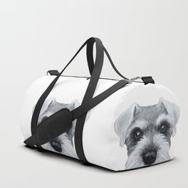 Schnauzer pattern-Grey Dog illustration original painting print Duffle Bag