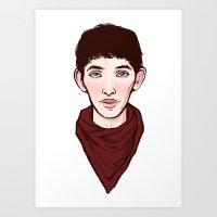 merlin Art Prints featuring Merlin by Emma Ehrling