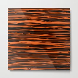 Harvest Orange Abstract Lines Metal Print