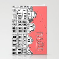 prague Stationery Cards featuring Prague by jeune-jaune