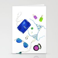 ysl Stationery Cards featuring Blue Flat lay  by Koma Art