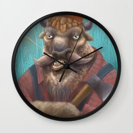 Bison Lumberjack Wall Clock