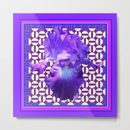 Spring Lilac-Purple Iris Flower Purple Pattern. Metal Print