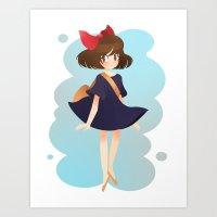 kiki Art Prints featuring kiki by andrea c