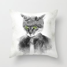 Biker Cat Throw Pillow
