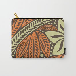 Cream orange retro colored Polynesian floral tattoo design Carry-All Pouch
