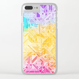 Warm Fall Rainbow Gradient (Violet Blue Yellow Red) Geometric Pattern Print Design Clear iPhone Case