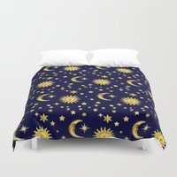 sun and moon Duvet Covers featuring Sun, Moon & Stars by aura2000